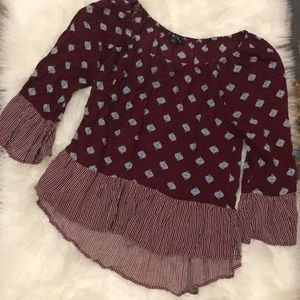 Maroon and White Contrast Top